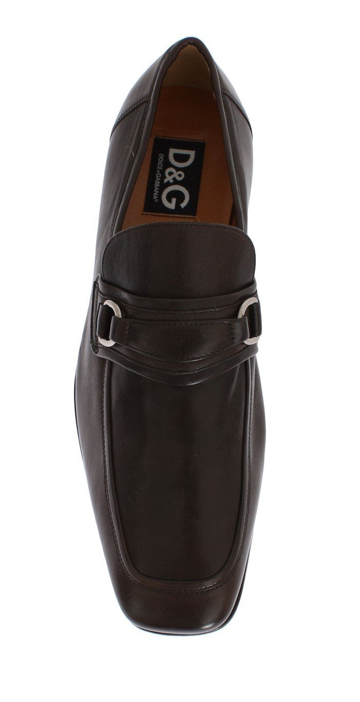 Brown Leather Formal Loafers Shoes