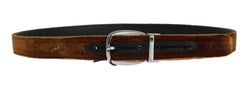 Brown Velvet Logo Waist Silver Buckle Belt