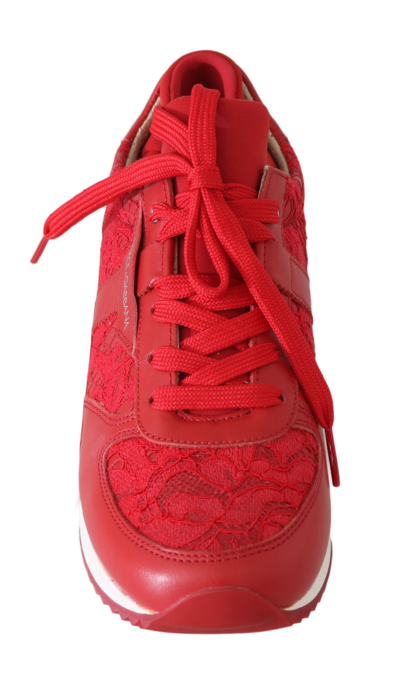 Red Floral Lace Leather Women Sneakers