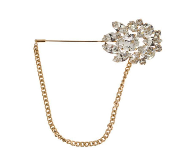 Gold Plated Brass Clear Crystal Brooch Pin
