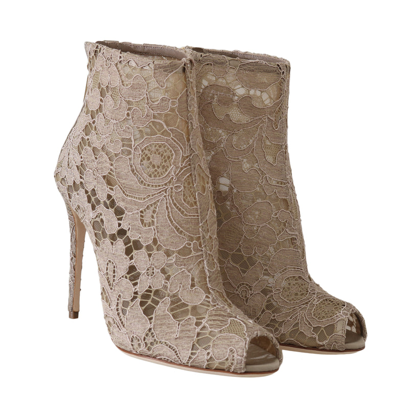 Beige Leather Cotton Lace Booties