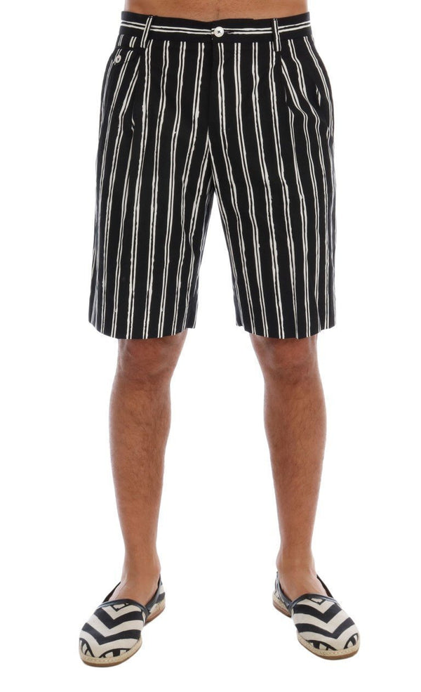 White Black Striped Cotton Shorts
