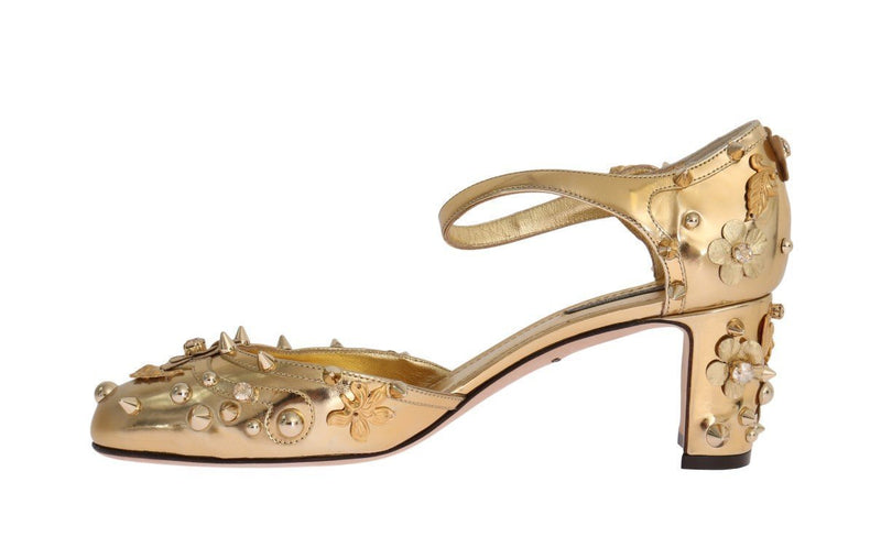 Gold Leather Crystal Fairy Tale Pumps