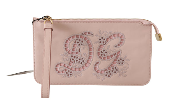 Pink Leather Zipper Wristlet Toiletry Clutch Wallet