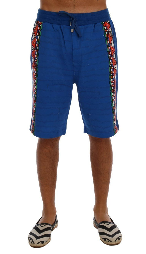 Blue Cotton Above Knees Casual Shorts