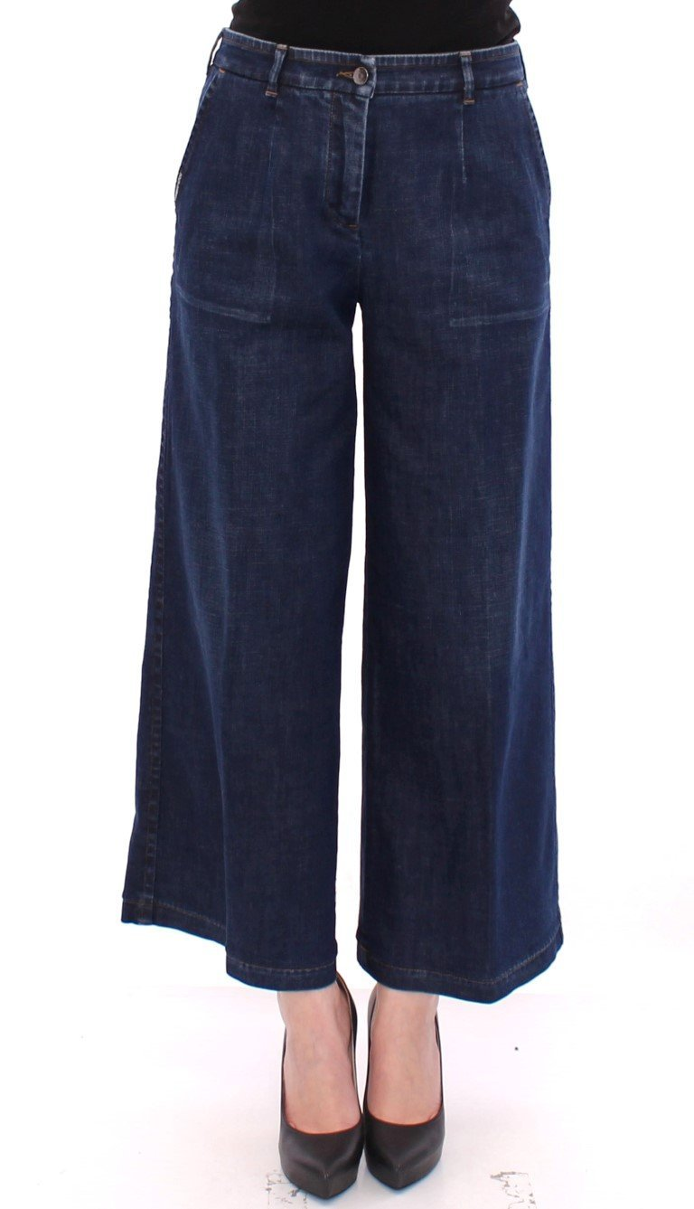 Blue Cotton Solid Pattern Logo Jeans Pants