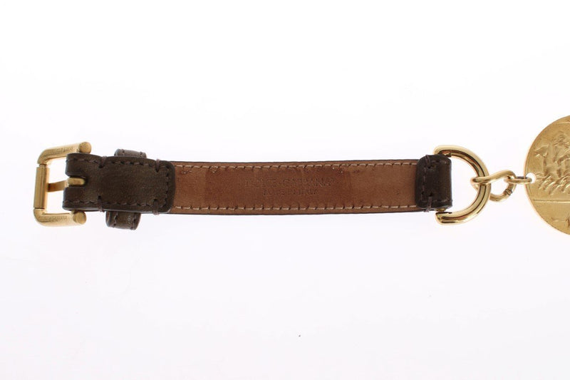 Brown Leather Roman Crystal Waist Belt