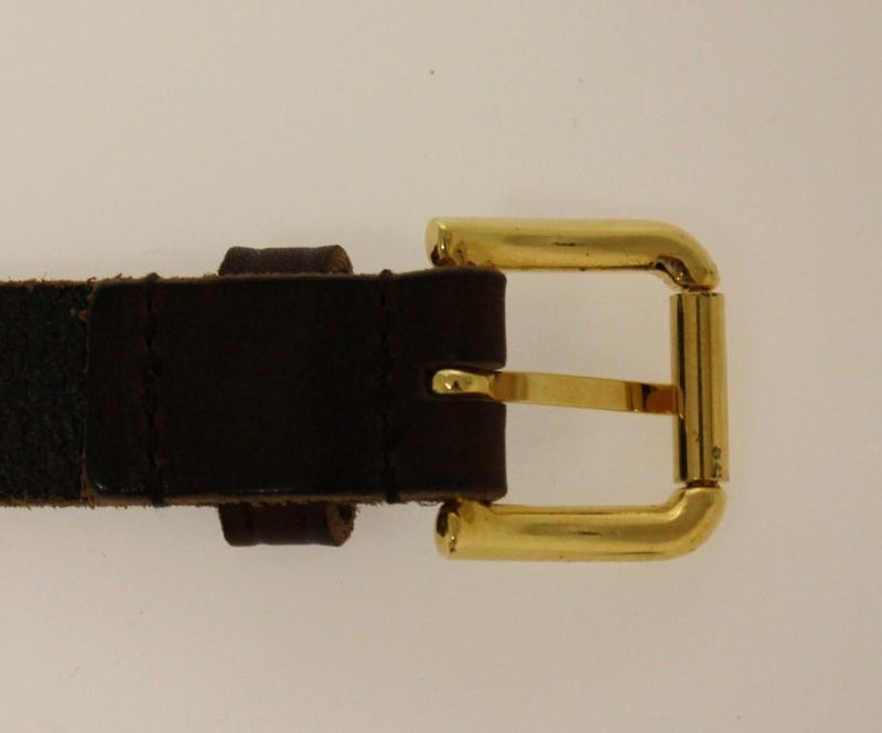 Brown Leather Logo Gold Buckle Belt