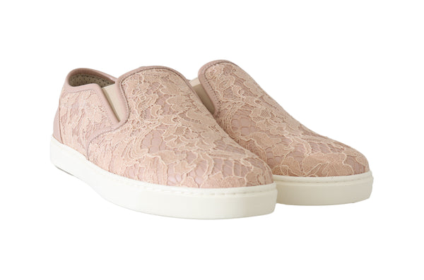 Pink Leather Lace Slip On Loafers