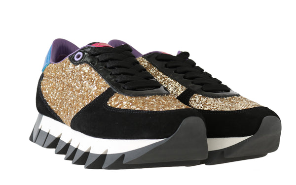 Black Gold Glitter Leather Sneakers