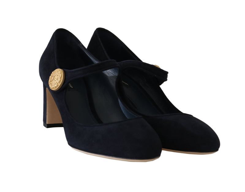 Blue Suede Gold Coin Mary Jane Pumps