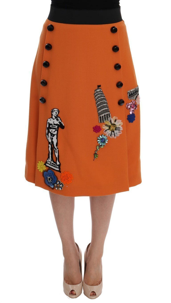 Orange Wool Crystal Sequin Appliques Skirt