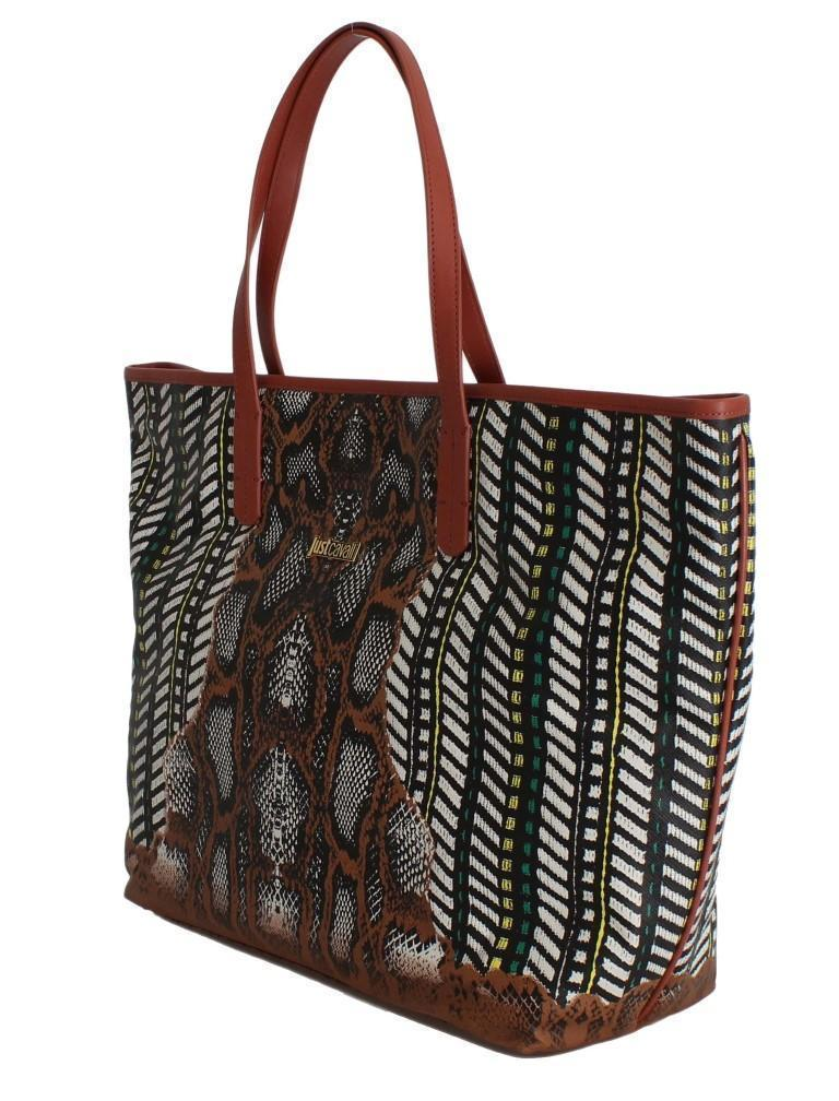 Multicolor Brown Snakeprint Shopping Tote Bag