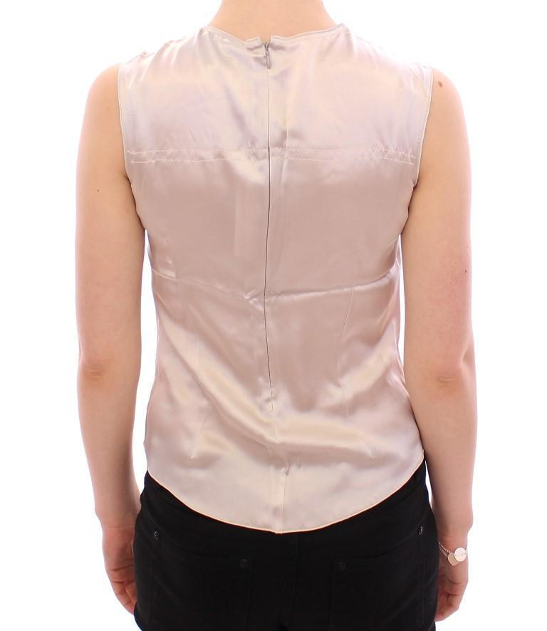 Silver Sleeveless Silk Blouse