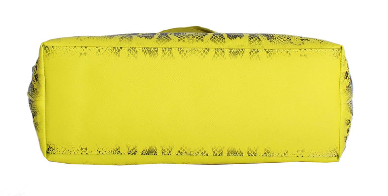 Multicolor Yellow Snakeprint Shopping Tote Bag - Designer Clothes, Handbags, Shoes + from Dolce & Gabbana, Prada, Cavalli, & more