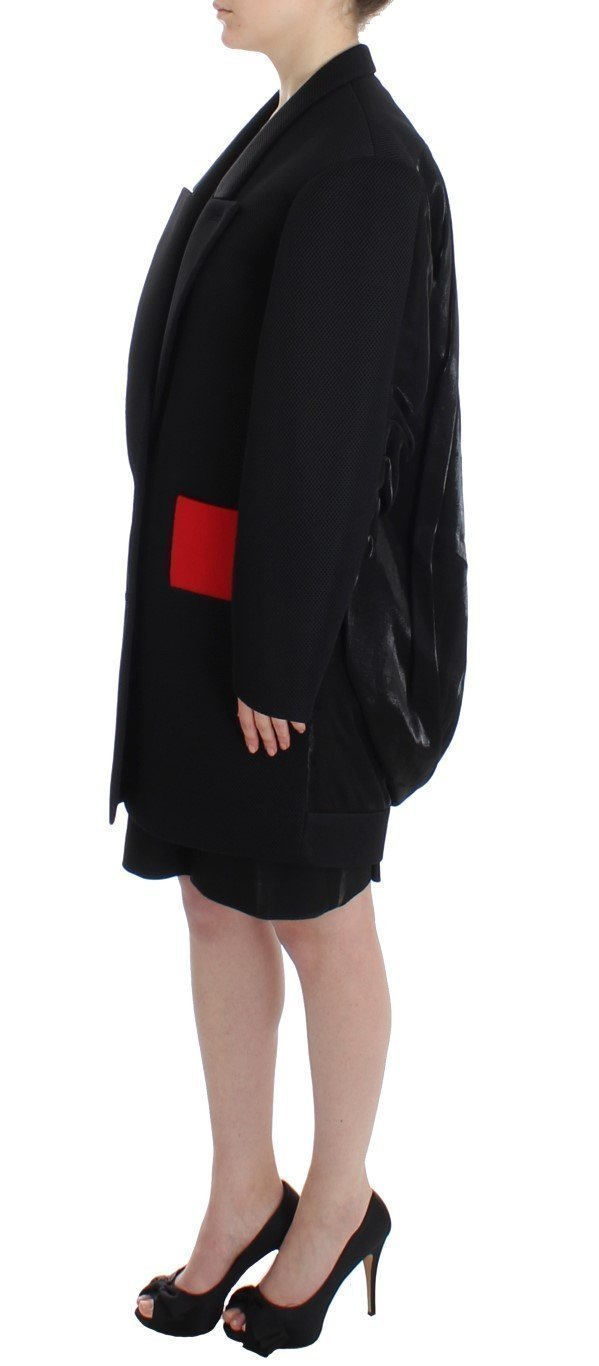 Black Coat Trench Long Draped Jacket Blazer