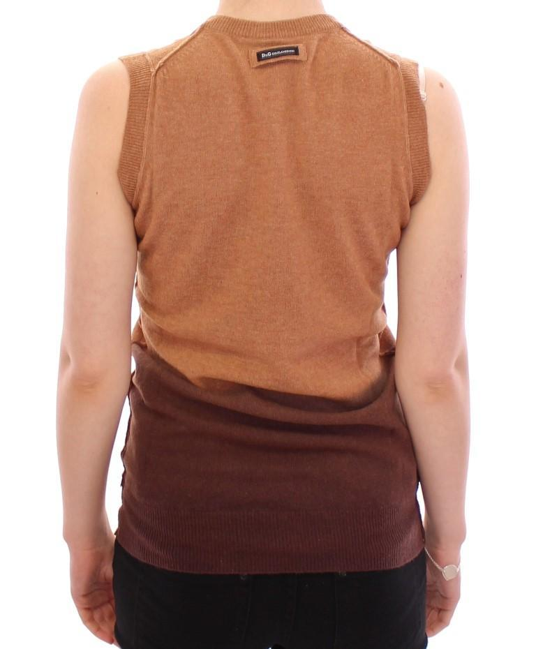 Brown Wool Blend Sleeveless Vest Sweater