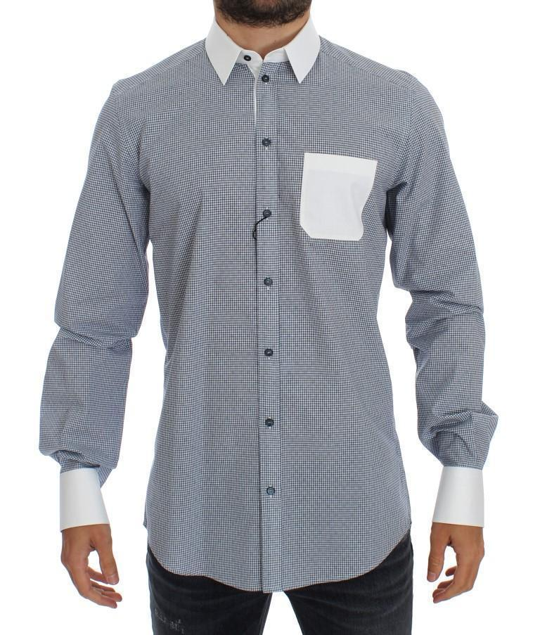 White Blue Cotton GOLD Slim Fit Dress Shirt