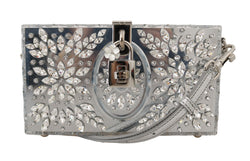 Silver Plexi Crystal SICILY Clutch Purse