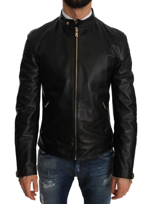 Black Lambskin Leather Biker Coat Jacket