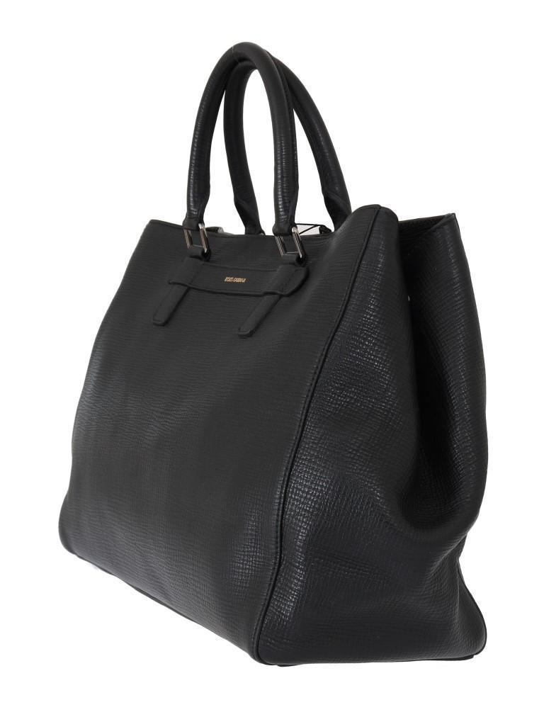 Black Leather Shopping Tote Bag