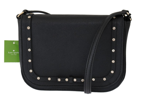 Black LARGE CARSEN Leather Crossbody Bag