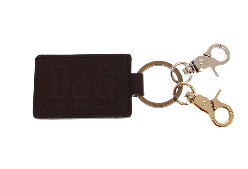 Brown Leather Metal Ring Keychain