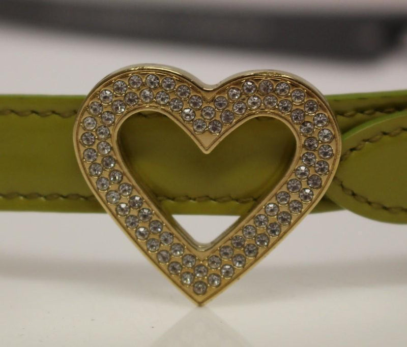 Green Leather Logo Heart Belt