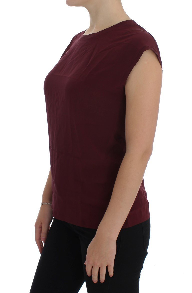 Purple Silk Cap Sleeve Blouse T-shirt Top