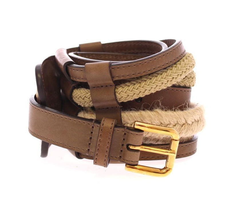 Brown Leather Logo Straw Belt