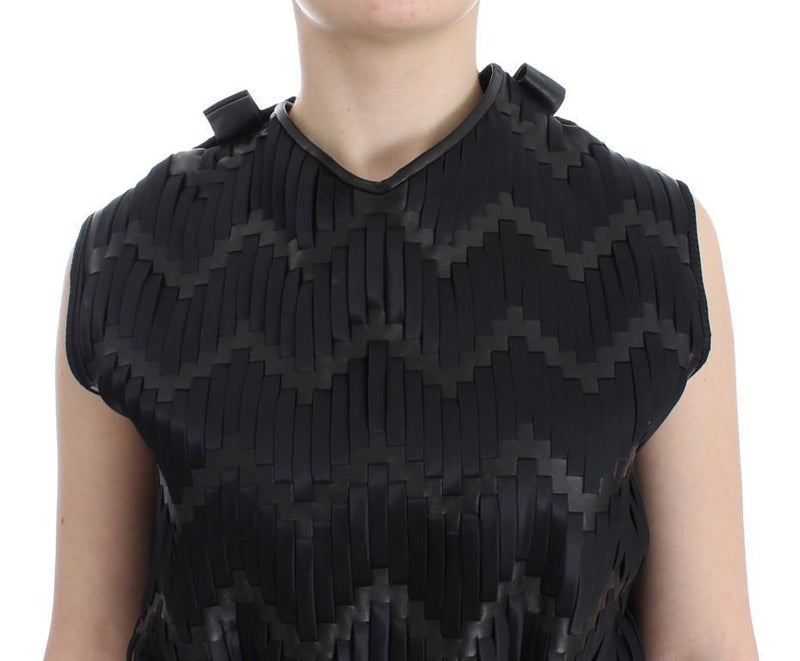 Black Checkered Nappa Leather Top Blouse