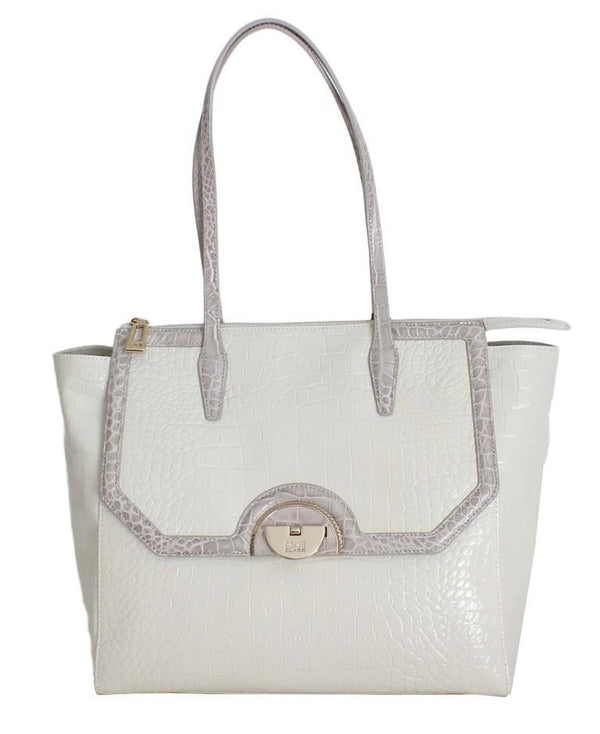 White Leather Shoulder Shopping Bag