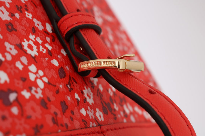 Red JET SET TRAVEL Leather Tote Bag Carryall
