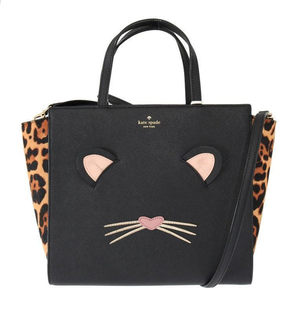 Black LEOPARD HAYDEN Leather Handbag