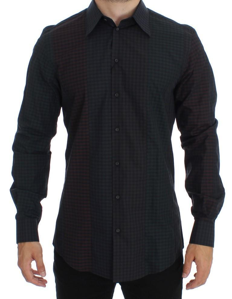 Black Multicolored Checkered GOLD Slim Fit Shirt