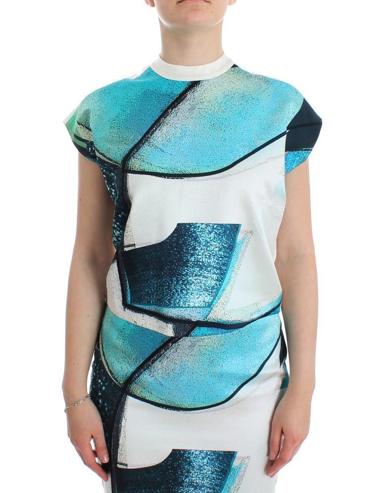 Multicolor 100% Silk Crop Top Blouse T-shirt
