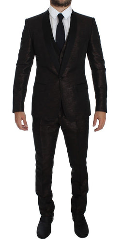 Brown Black Shiny 3 Piece Slim Suit Tuxedo