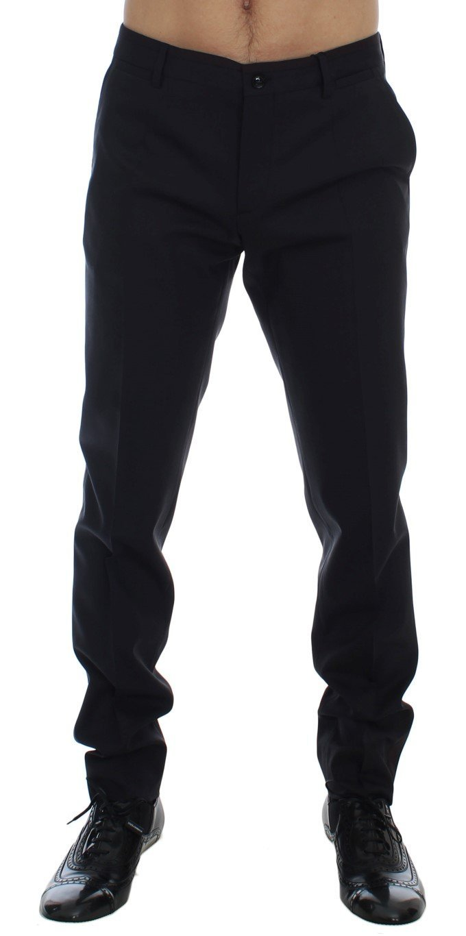 Gray Wool Stretch Slim Fit Dress Pants