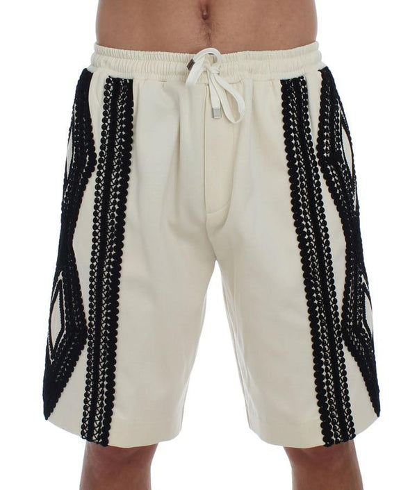 White Black Torero Above Knees Shorts