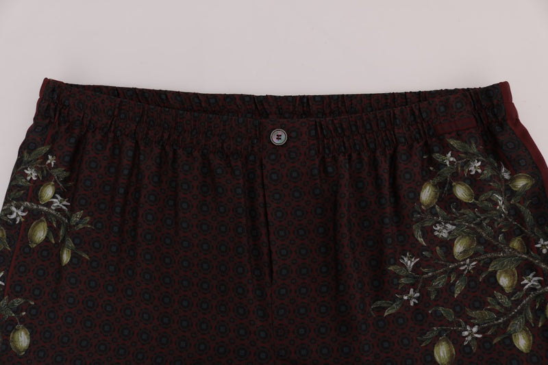 Bordeaux Floral Silk Pajama Pants