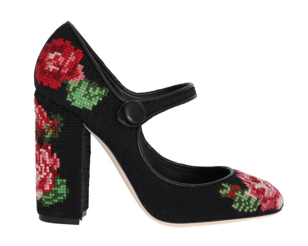 Black Floral Leather Hand Stitched Mary Janes Pumps Shoes