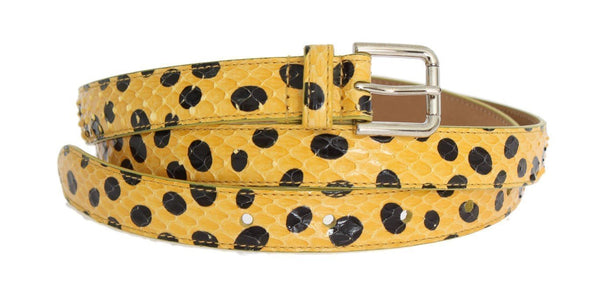 Yellow Snakeskin Silver Buckle Belt