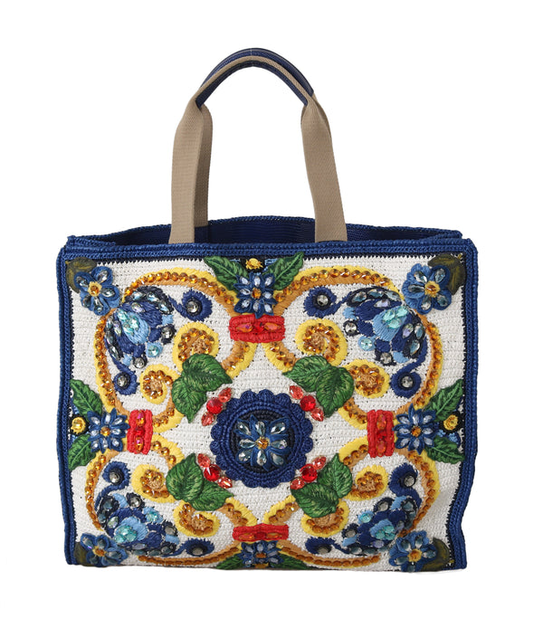 Blue Majolica Raffia Crystal Shopping Tote Purse