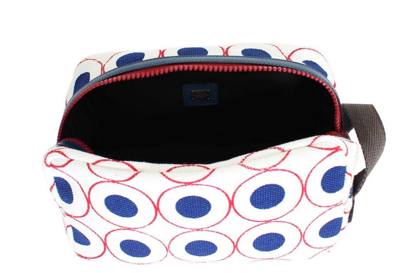 Multicolor denim toiletry bag