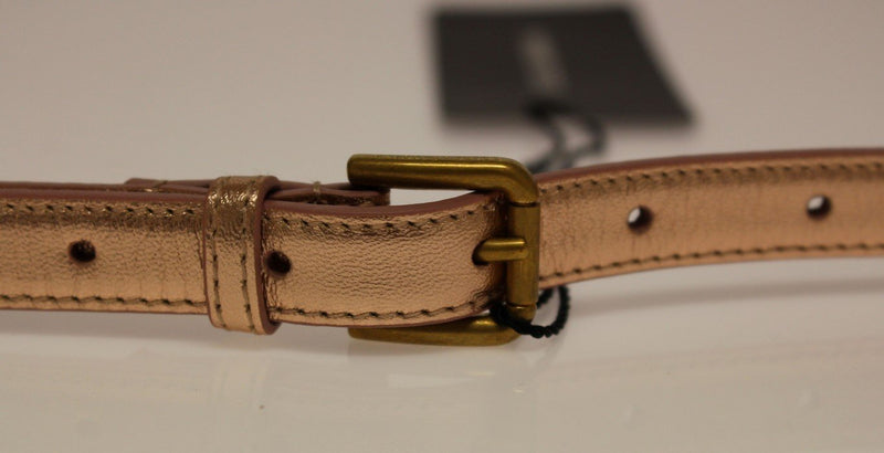 Pink Leather Skinny Belt