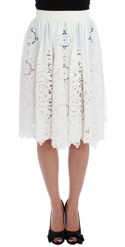 White Silk Floral Ricamo Knee Skirt