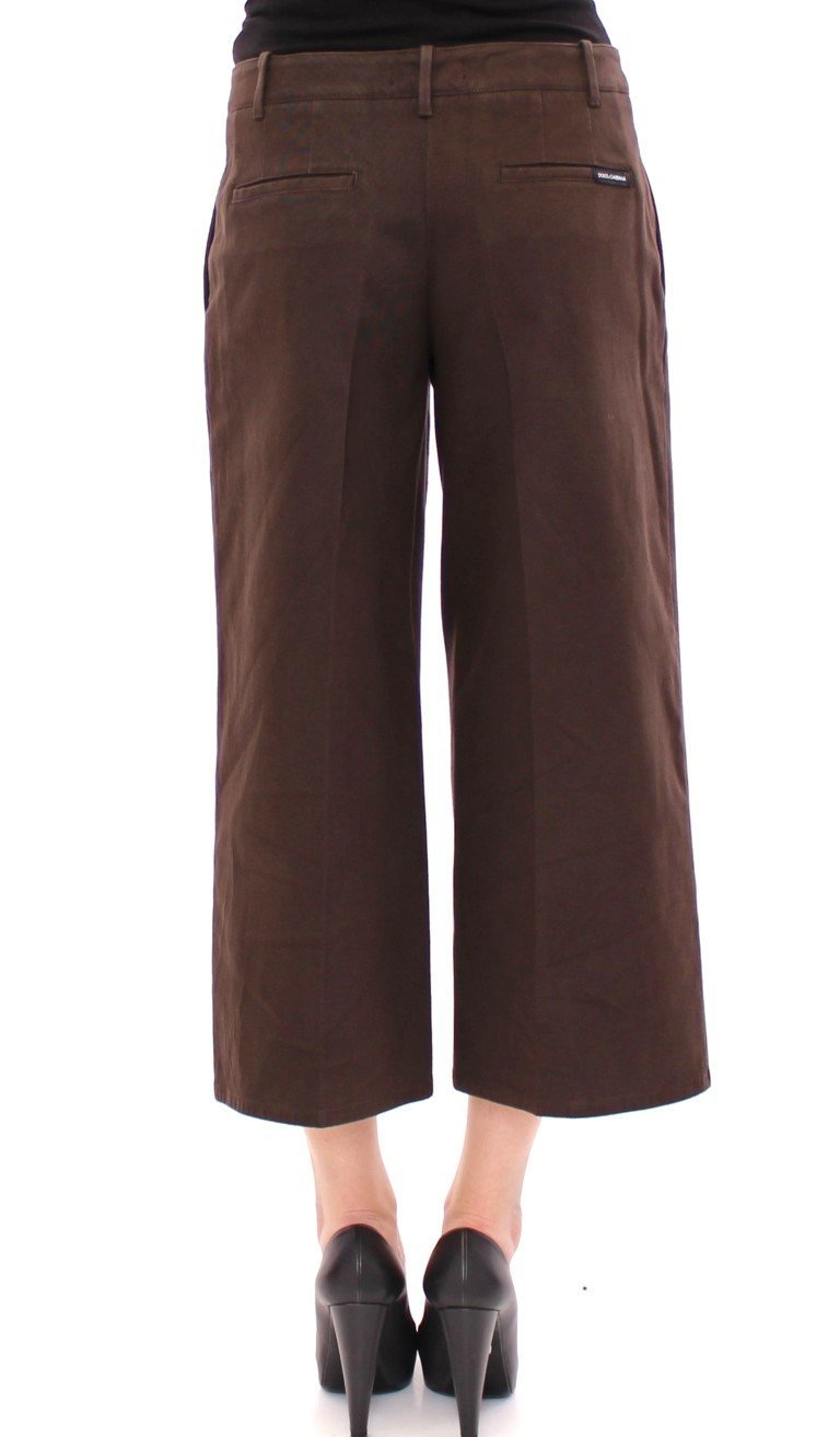 Brown Cotton Cropped Chinos Jeans Pants