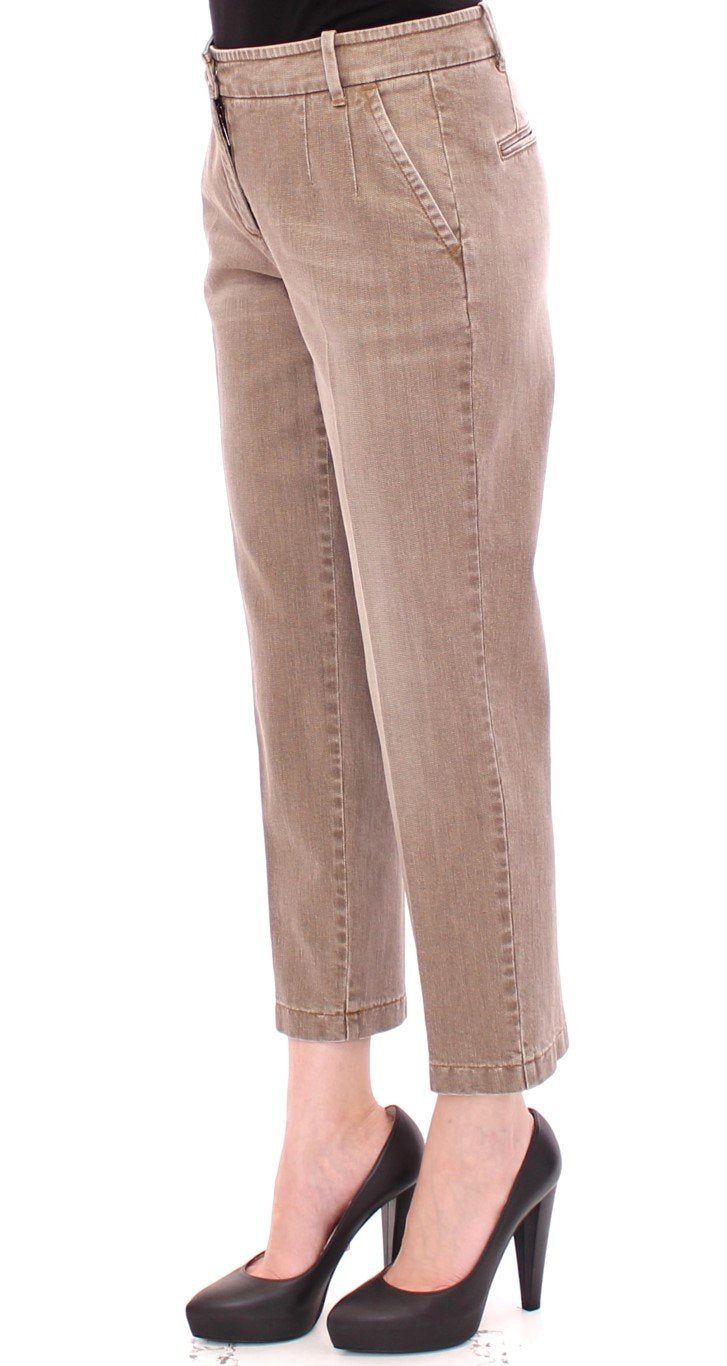Beige Cotton Cropped Chinos Jeans Pants
