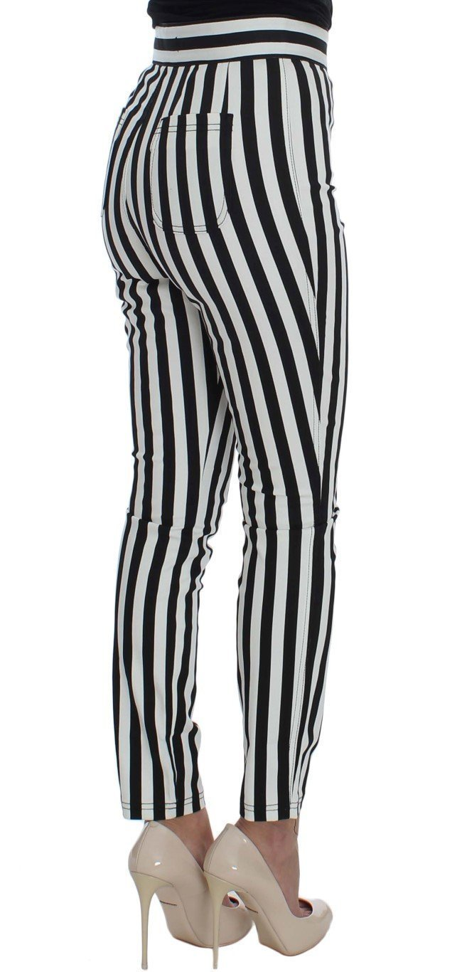 Black White Striped Cotton Stretch Jeans