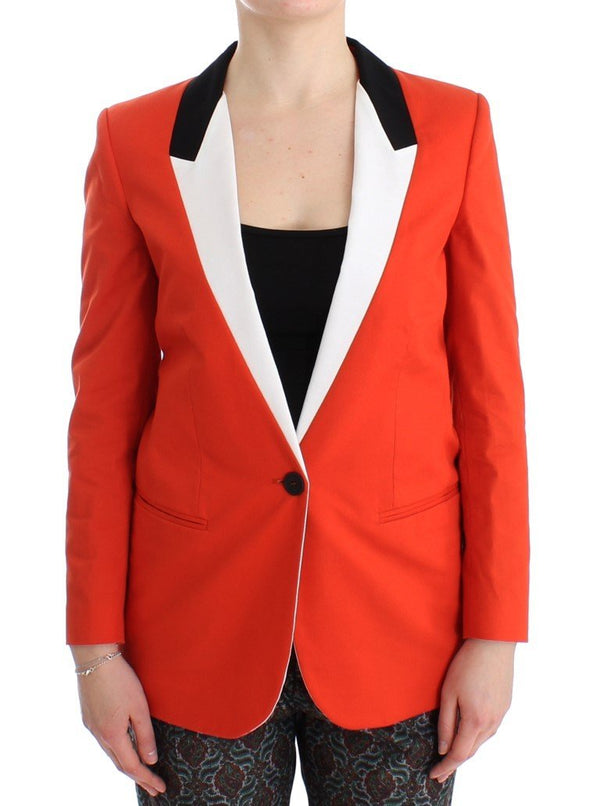 Orange Cotton Blend Blazer Jacket